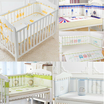 4 Sides Baby Breathable Crib Bumper Pads for Standard Cribs Cot Washable