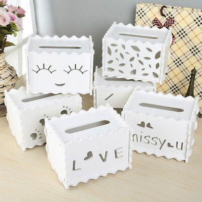CO_ Cute Carve Wood Tissue Box Storage Holder Case Home Office Desktop Decor Goo