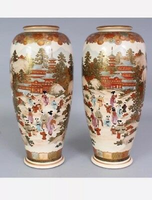 Pair Of Japanese Vases 1900 Picclick Uk
