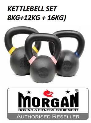 KETTLEBELL PACK 8kg 12kg 16kg cast iron Crossfit black set kettle bell MORGAN