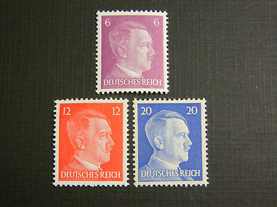 Lot of 3 Rare Old Antique Authentic German WWII  Unused Stamps - 6, 12 & 20pf