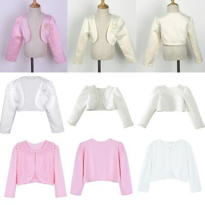 Kids Girls Long Sleeves Beaded Bolero Jacket Shrug Bridesmaid Party Cardigan