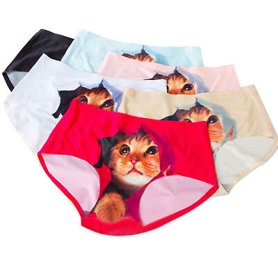 8764cd8c92 Womens Underwear Panties Cat Printed Muti-Color Soft Briefs Seamless  Knickers