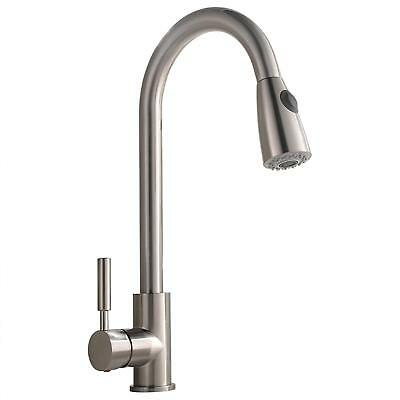 Comllen Commercial Single Handle Brushed Nickel Pull out Kitchen Faucet Mixer