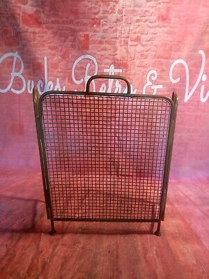 Antique Victorian Old Brass Mesh Spark Fire Place Guard Screen Folding Display