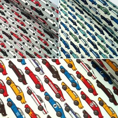 100% Cotton Poplin Fabric Rose & Hubble Sports Race Cars Vehicle