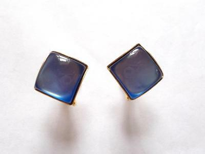 Vintage 1940's Blue Moonglow Lucite Gold Tone Screw Fastening Earrings
