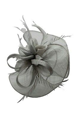 Wedding Hat Light Grey Fascinator Races Ladies Day Ascot Prom Headband & Clip