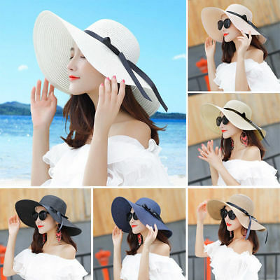2018 Wide Brim Straw Hat Floppy Summer Sun Hat Women Lady Leisure Beach Foldable