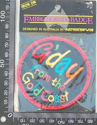 Vintage G'day From The Gold Coast Embroidered Souvenir Patch Cloth Sew-On Badge