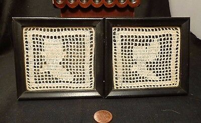 Antique SILHOUETTES Victorian Two Hand Made CROCHET LACE framed Civil War art