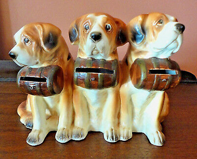 Vintage Piggy Bank Money Bank THREE Saint Bernard DOGS