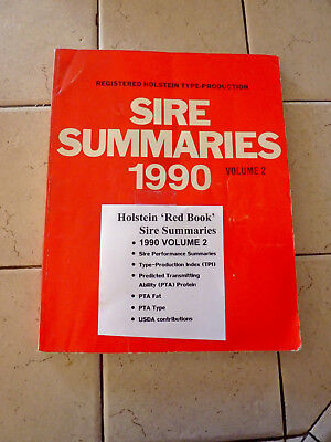 "Holstein Association 1990 ""red Book"" Registered Sire Summaries Volume 2"