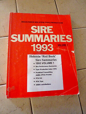 "Holstein Association 1993 ""red Book"" Registered Sire Summaries Volume 1"