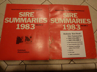 "Holstein Association 1983 ""red Book"" Registered Sire Summaries Vol. 1 & 2"