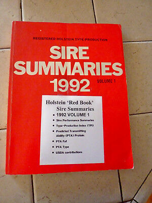 "Holstein Association 1992 ""red Book"" Registered Sire Summaries Volume 1"