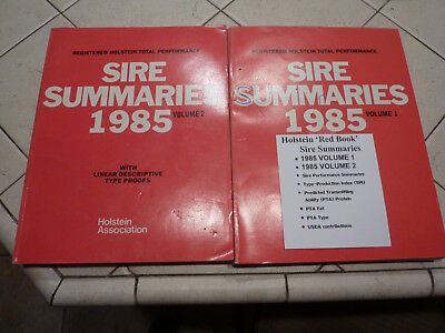 "Holstein Association 1985 ""red Book"" Registered Sire Summaries Vol. 1 & 2"