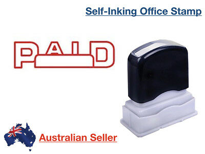 PAID Red Pre-Inked Date Rubber Stamp Office Stationary Custom Shiny Push Down