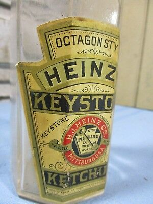 Rare Heinz Keystone Octagon Ketchup Bottle w/ Label Patent Date 1890, Label 1885