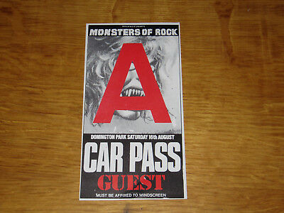1986 Donington Monsters Of Rock Unused Car Pass (Ozzy Osbourne)