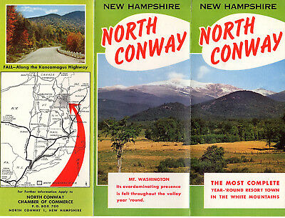 North Conway NH White Mountains Vintage 1950's Travel Brochure Color Photos Map