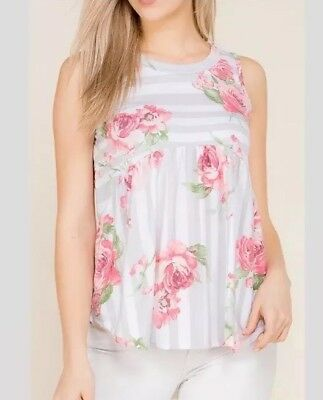 Floral Roses Gray & White Striped Ruffle/Ruched Tank Top~sizes: S-M-L