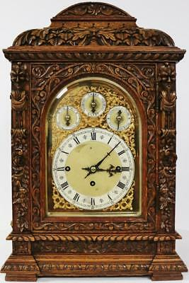 Rare Antique W&H Profusely Carved Oak Triple Fusee Musical 9 Gong Bracket Clock