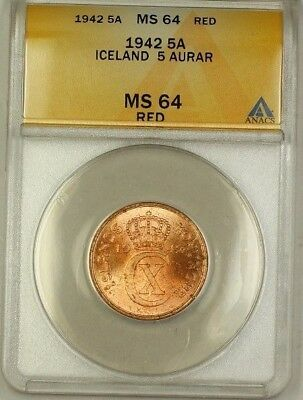 1942 Iceland 5A Five Aurar Copper ANACS MS-64 Red (Better Coin) (C)