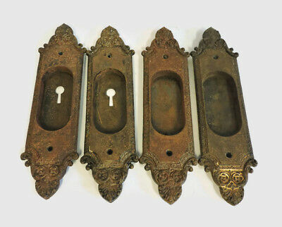 ANTIQUE  POCKET DOOR HARDWARE SET 4 CAST IRON HANDLE PLATES pulls sliding