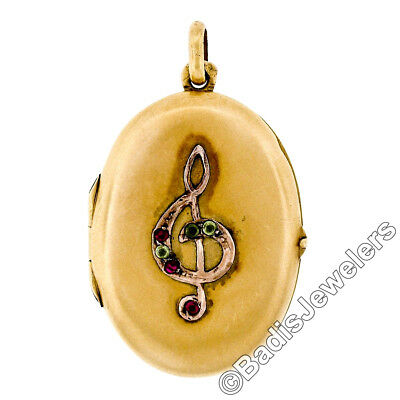 Antique 14k Yellow Gold Old Cut Ruby & Peridot Music Note Oval Locket Pendant