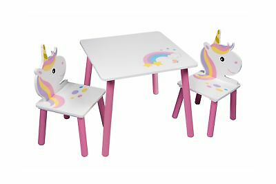 Unicorn Table And 2 Chairs Set Childrens Kids Toddler Nursery Playroom Furnit...