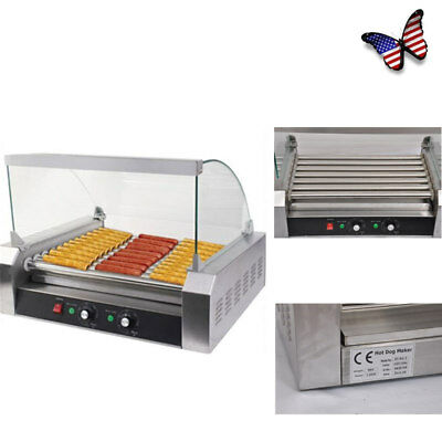 Commercial 30 Hot Dogs Machine 7-Roller Stainless Steel Home Party Use US Stock