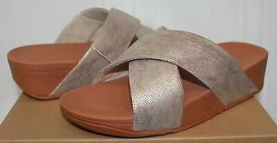 38955af7cc9eeb Fitflop LULU CROSS slide comfort sandals Gold Shimmer Print New with box!