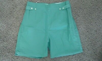 Vintage Mint Green 1960s 1950s shorts Sz S M 100% Cotton High Waisted 50s