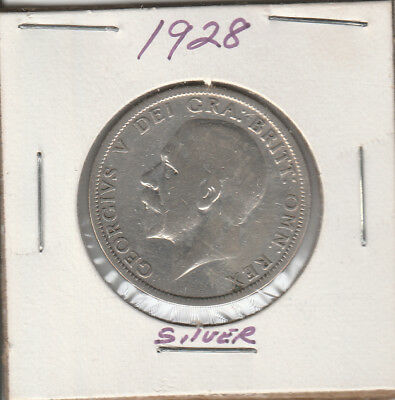 1928 Great Britain Florin - 50% SILVER - KM# 834