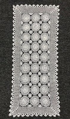 "White 14x34"" Cotton Vintage Handmade Crochet Lace Table Runner Placemat Cover"