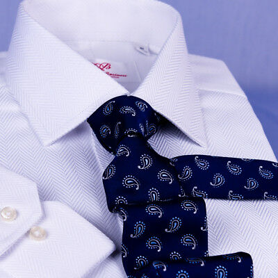 White Herringbone Twill Dress Shirt Business Formal Button Cuff Chest Pocket Top