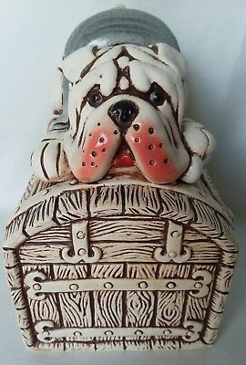 Hand Crafted English Bulldog Piggy Bank Ceramic Figurine Dog Art Pottery Cute!!!