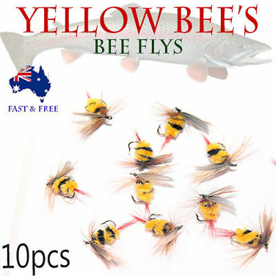 10x Bee Flies Bugs Fly Fishing Freshwater Crab Craw Prawn Lures BASS BREAM shrim