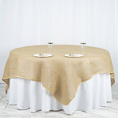 "90x90"" Natural Brown BURLAP SQUARE TABLE OVERLAY Wedding Party Tradeshow Linens"
