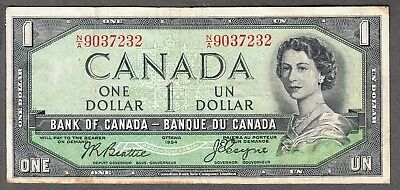 1954 Bank of Canada - $1 Devil Face Note - F/VF - Beattie Coyne - N/A 9037232