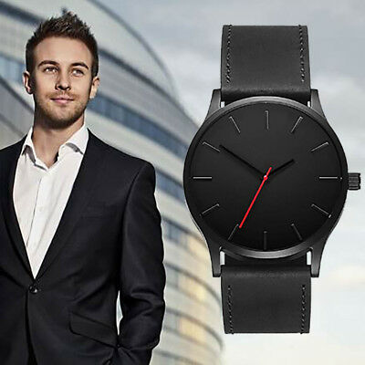 Fashion Mens Leather Business Formal Watch Quartz Large Dial Sprot Wrist Watches