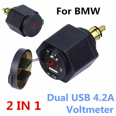 Motorcycle Dual USB 4.2A Charger LED Voltmeter Powerlet For BMW Din Hella Plug