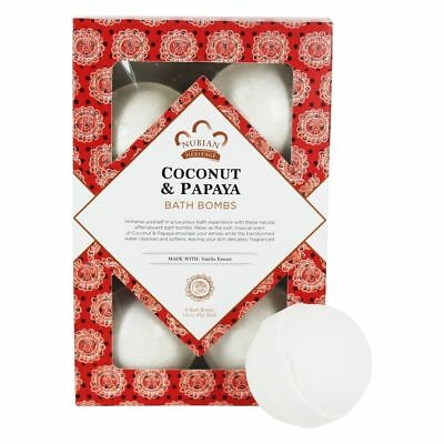 Nubian Heritage - Bath Bombs Coconut & Papaya with Vanilla Beans - 6 Count