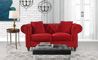 VELVET CHESTERFIELD SOFA Couch Living Room Red 2 Seater Loveseat Tufted  Bedroom