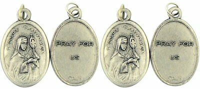 Saint St Clara Silver Tone Catholic Patron Saint Medal, Lot of 4, 1 Inch