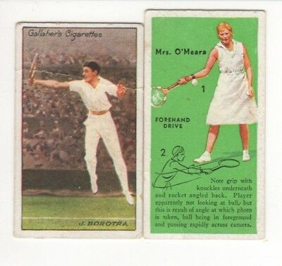 Two Tennis Cigarette Cards, J. Borotra and Mrs O'Meara