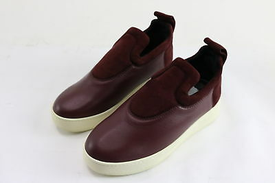 NWT $980 Celine Men's Red/Wine Suede/Leather Slip On Sneakers Size 8
