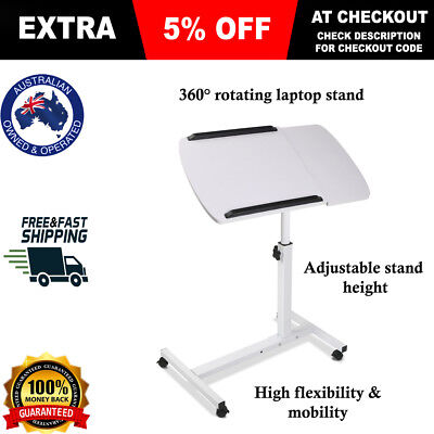 Portable Laptop Desk Stand Adjustable Notebook Computer Table Tray Bed White