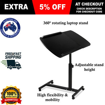 Portable Laptop Desk Stand Adjustable Notebook Computer Table Tray Bed Black